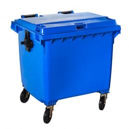 Conteneur à déchets bleu 1100 litres sur 4 roues