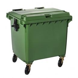 Conteneur à déchets vert 1100 litres sur 4 roues
