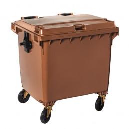 Conteneur à déchets marron 1100 litres sur 4 roues