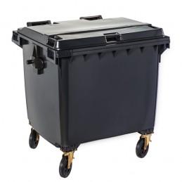 Conteneur à déchets gris 1100 litres sur 4 roues