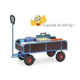 Remorque manuelle légère capacité 400 kg avec ridelles