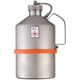 Bidon de sécurité en inox de 2 litres avec bouchons filetés