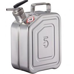 Jerrycan inox de sécurité avec bec doseur de précision 5 litres.