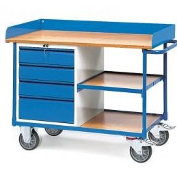 Servante d'atelier avec rebord et 4 tiroirs capacité 400 kg