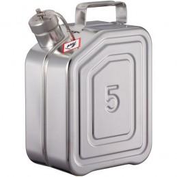 Jerrycan inox de sécurité pour le transport avec bouchon fileté capacité 5 litres.