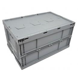 Bac pliable EURONORM 600x400x320 mm avec couvercle gris ou bleu