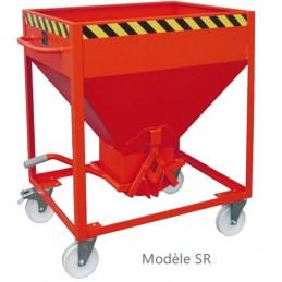 Bac silo pour le débit régulé des matériaux en vrac sur roulettes