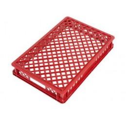 Bac à pain 600 x 400 mm totalement ajouré 16 litres rouge.
