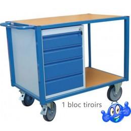 Desserte mobile 500 kg avec un bloc tiroirs