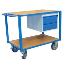 Servante d'atelier 2 plateaux bois avec 2 tiroirs