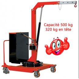 Grue d'atelier 500 kg rotative manuelle porte-à-faux.