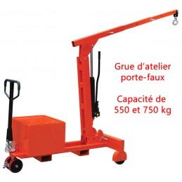 Grue d'atelier porte-à-faux repliable manuelle 550 et 750 kg
