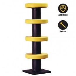 Poteau de protection pour le balisage jaune et noir.