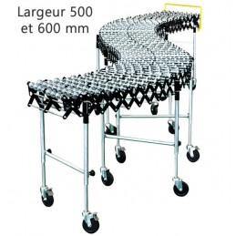 Convoyeur galets acier longueur 3642 mm en largeur 500 et 600 mm.