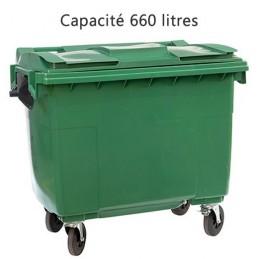 Conteneur  à déchets 660 litres vert