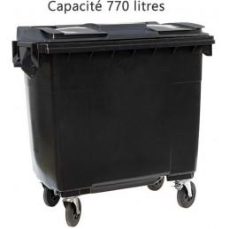 Conteneur noir 770 litres 4 roues pivotantes