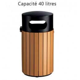 Poubelle en métal et bois 40 litres pour l'extérieur