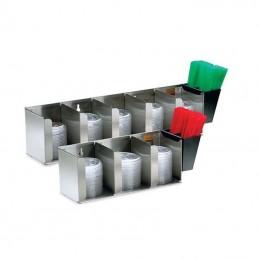 Distributeur de couvercle et de pailles 3 compartiments