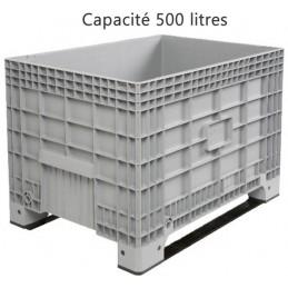 Caisse palette 500 litres sur 2 semelles