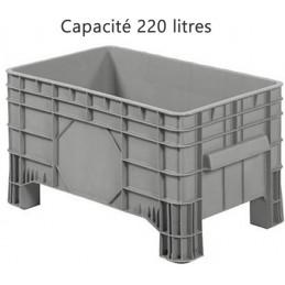 Caisse palette 220 litres en plastique sur 4 pieds