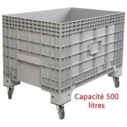 Caisse palette 500 litres sur roues