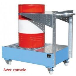 Bac de rétention mobile avec console pour 1 fût de 200 litres