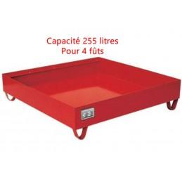 Bac de rétention 255 litres 1200 x 1200 mm rouge