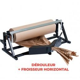 Dérouleur de rouleau papier horizontal avec froissage papier