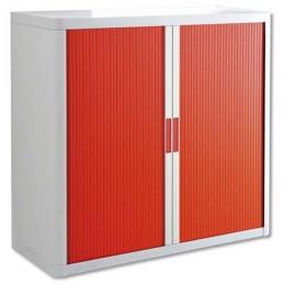 Armoire de bureau à rideau structure blanche et portes en rouge