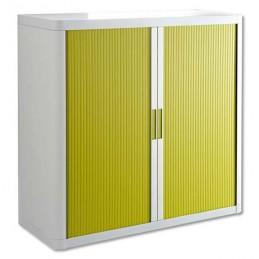 Armoire de bureau à rideau structure blanche et portes en vert