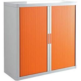 Armoire de bureau à rideau structure blanche et portes en orange