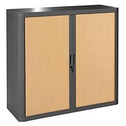 Armoire de bureau à rideau structure noire et portes coloris hêtre