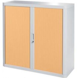 Armoire de bureau à rideau structure blanche et portes coloris hêtre