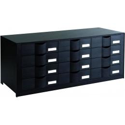 Blocs à tiroirs 12 et 16 cases noir