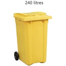 Conteneur 240 litres à déchets couleur jaune.
