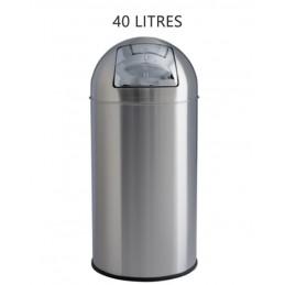 Poubelle 40 litres avec trappe tout INOX