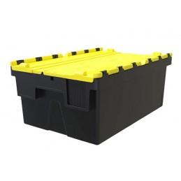 Bac navette 600x400x250 avec couvercle couleur jaune.