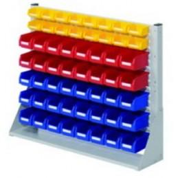Rack modulaire hauteur 760 mm avec 56 bacs à bec.