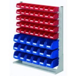 Rack modulaire hauteur 1100 mm avec 58 bacs à bec