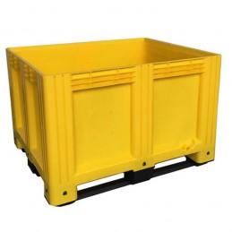 Caisse palette 610 litres 1200x1000 plein 3 semelles couleur jaune.