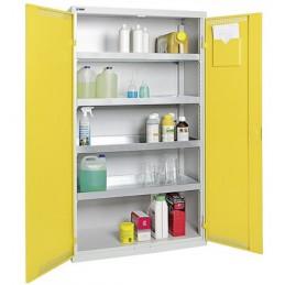 Armoire de sécurité avec 4 bacs de rétention 1800 x 1000 x 500 mm portes jaunes.