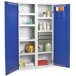 Armoire de sécurité avec 3 tiroirs et 4 bacs de rétention 1800 x 1000 x 500 mm portes bleues.