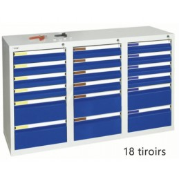 Armoire à 18 tiroirs à extension totale 900 x 1500 x 500 mm façade bleue