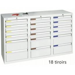 Armoire à 18 tiroirs à extension totale 900 x 1500 x 500 mm façade grise