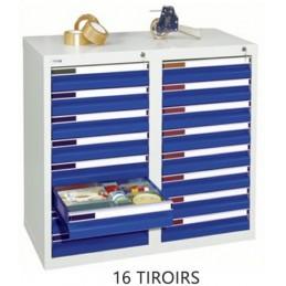 Armoire à 16 tiroirs à extension totale 900 x 1000 x 500 mm façade bleue