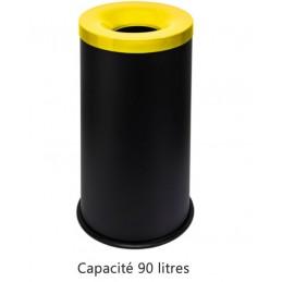 Corbeille anti-feu 90 litres avec couvercle jaune