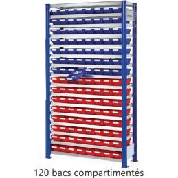 Rayonnage avec 120 bacs à compartiments 120 x 65 mm