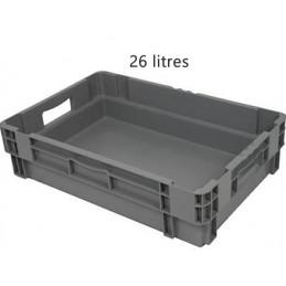 Bac emboitable 26 litres gerbable fond et côtés pleins euronorm