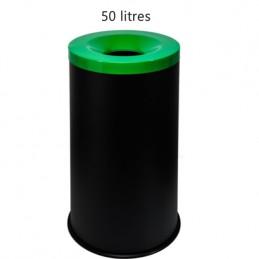 Corbeille anti-feu 50 litres avec couvercle vert