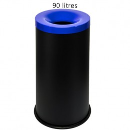 Corbeille anti-feu 90 litres avec couvercle bleu